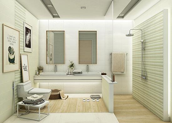 ไอเดียห้องน้ำ ลวดลายไม้ ในโทนสีเบจ ให้ความรู้สึกอบอุ่นน่าสัมผัส