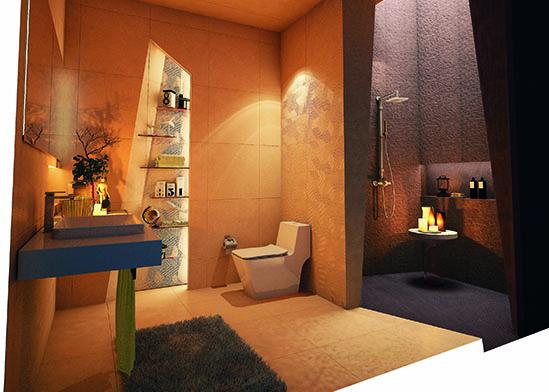รูปแบบห้องน้ำ โทนอบอุ่นธรรมชาติ แต่แฝงสไตล์ Modern ทันสมัย