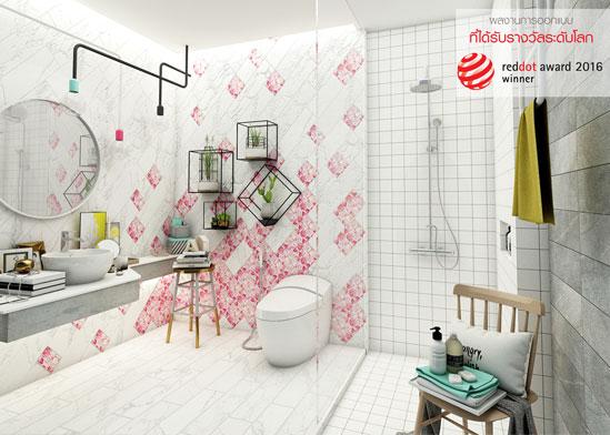 แบบห้องน้ำน่ารัก โมเสคเก๋ๆ สไตล์ Minimal Pop-art