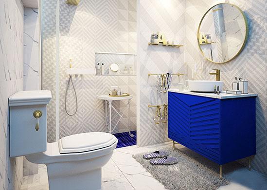 แบบห้องน้ำ ลวดลายกราฟฟิค ในโทนสีขาวดูเรียบแต่หรู