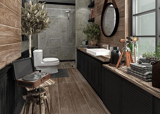 แบบห้องน้ำ สไตล์ Vintage Loft ตกแต่งด้วยกระเบื้องลายไม้