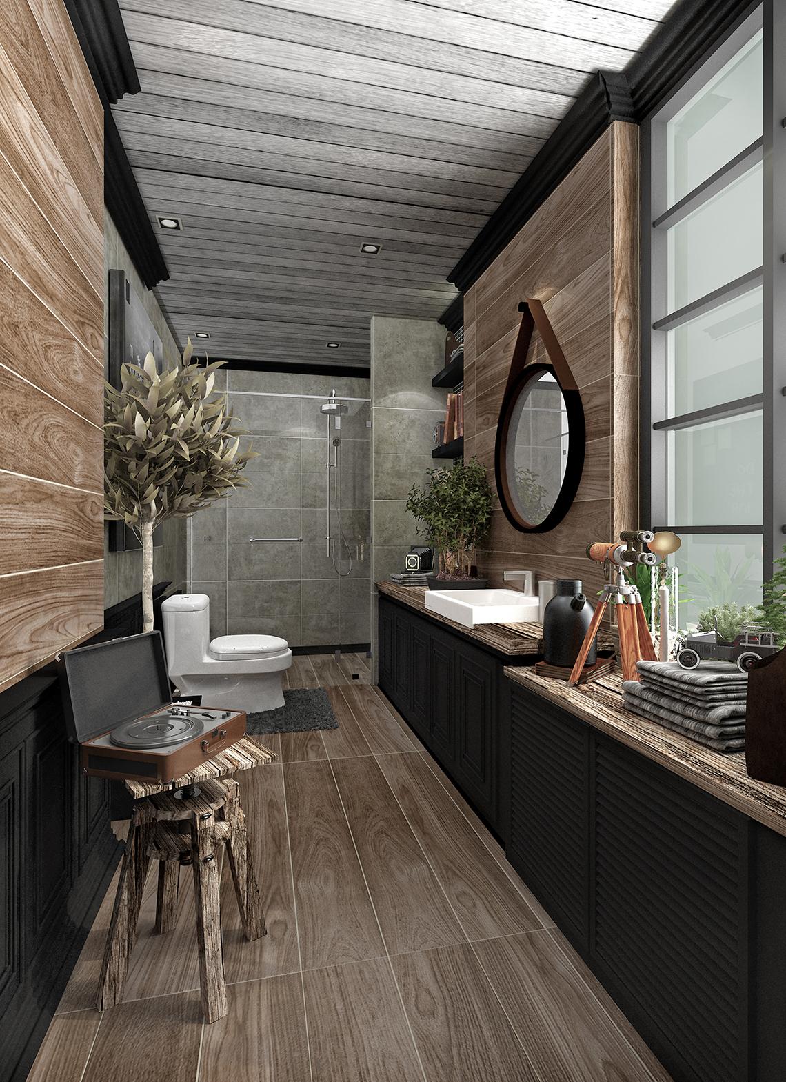 แบบห้องน้ำ สไตล์ลอฟท์ ให้ความรู้สึก Vintage เล็กๆ ด้วยกระเบื้องลายไม้สีน้ำตาล