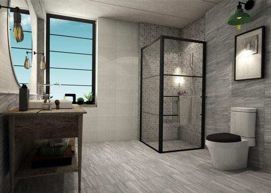 ห้องน้ำส่วนตัว สไตล์โมเดิร์นลวดลายหินธรรมชาติ เพิ่มความอบอุ่นแบบเท่ๆ ให้กับห้องน้ำพื้นที่จำกัด