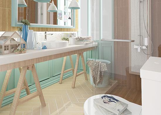 ห้องน้ำ ลวดลายไม้โอ๊ค และโทนสีพาสเทล ให้บรรยบากาศอ่อนหวานอบอุ่น