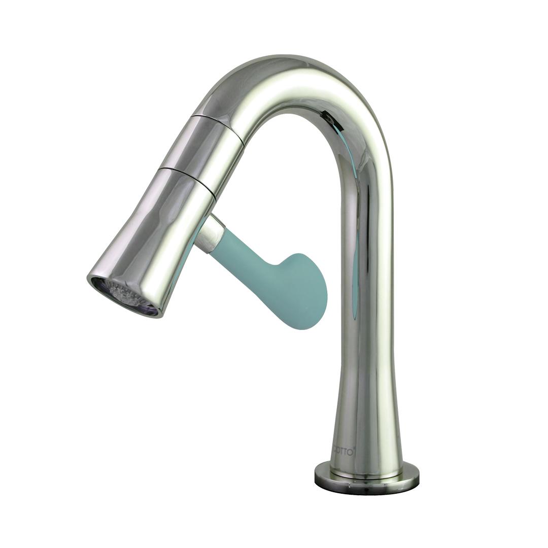Ct1301c43bu Single Lever Faucet With Soft Blue Handle Led